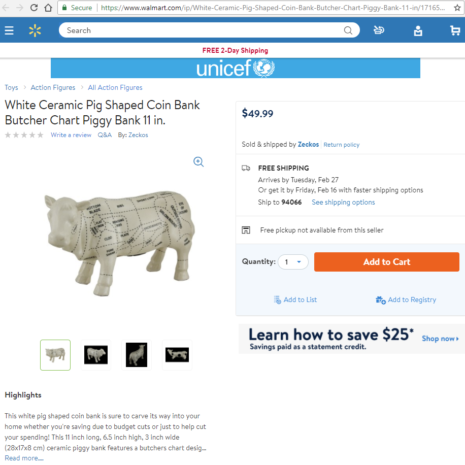Walmart-White Ceramic Pig Shaped Coin Bank Butcher Chart